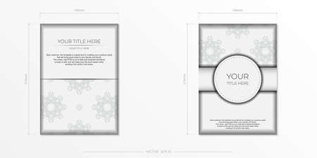 Luxurious white rectangular invitation card template with vintage indian ornaments.
