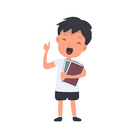 Teenager with a backpack waves his hand. Satisfied schoolboy. Suitable for back-to-school or vacation designs. Isolated. Vector.