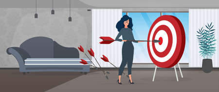 The girl is holding an arrow. The arrow hits the target. The concept of successful business, teamwork and achieving goals. Vector.