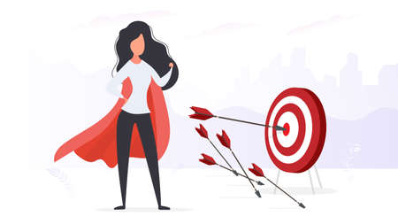 The girl with the red cloak hits the target. Big target. An arrow hitting the center of the target. Superhero woman. Vector. Ilustración de vector