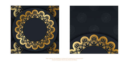 Black leaflet with luxurious gold ornamentation is ready for printing.