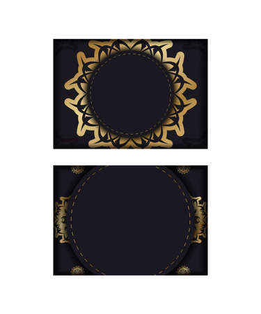 Congratulatory Flyer in black with luxurious gold ornamentation prepared for typography.