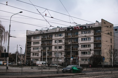 Old 90s block of flats in the center of Wroclaw, Poland