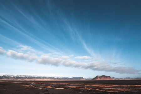 Beautiful sunny landscape with rich clouds on Iceland
