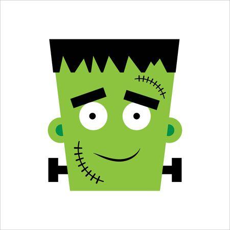 Halloween boy Frankenstein Vector illustration. Happy Frankenstein Day. Illustration for kids, card Halloween, print.