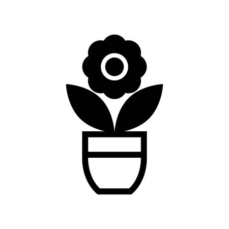 Flower in pot icon isolated on white background. eps 10