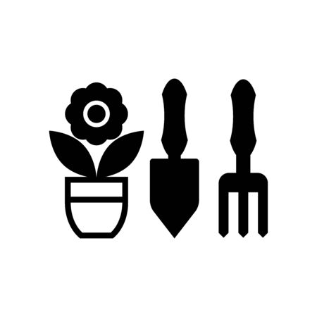 Gardening tools and flower pot icon isolated on white background Illusztráció
