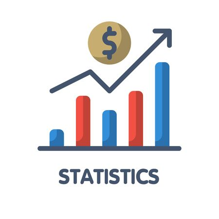 Icon statistics flat style icon design  illustration on white background
