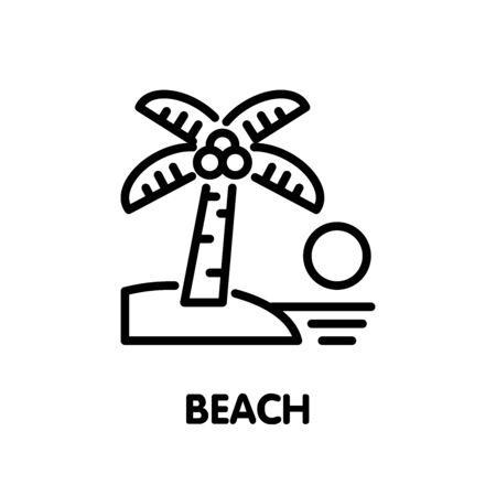 Beach outline icon design illustration on white background eps.10