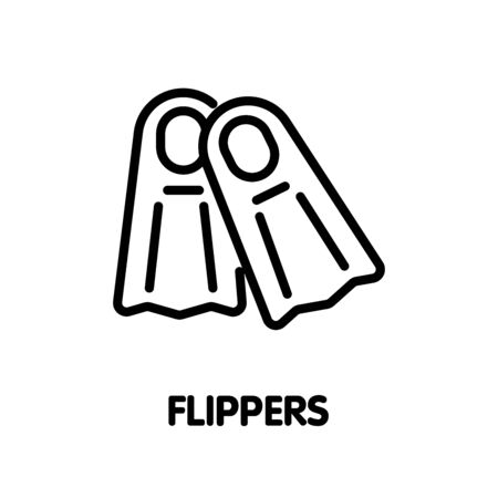 Flippers for diving outline icon design illustration on white background eps.10