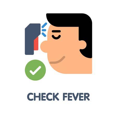 Check fever flat icon style design illustration on white background