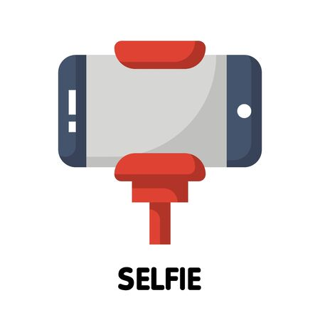 Vector smartphone selfie, take a photo flat icon design style on white background