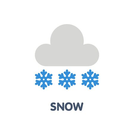 Snow cloud  flat icon design style illustration on white background 向量圖像