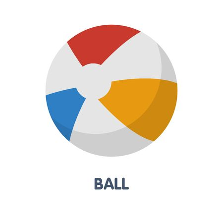 Colorful ball in summer flat icon vector design illustration on white background eps.10