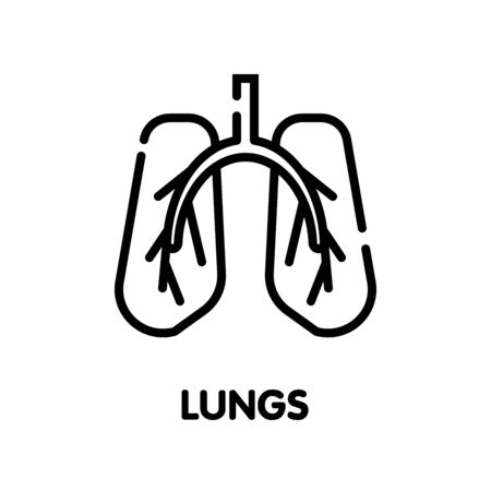 Lungs outline icon design style illustration on white background eps.10 Illustration