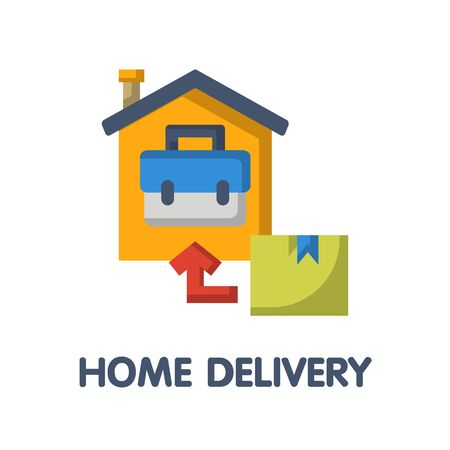 home delivery flat icon style design illustration on white background