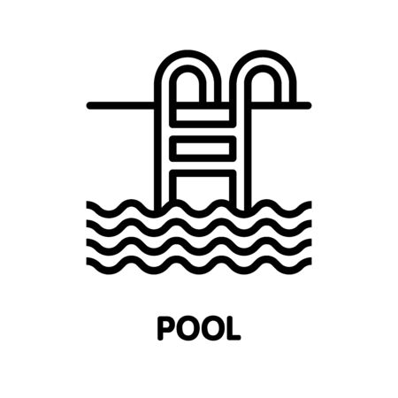 Swimming pool outline icon design illustration on white background