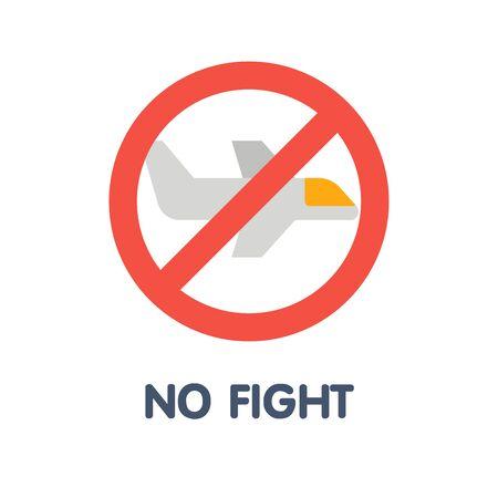 No fight flat icon style design illustration on white background