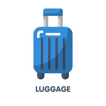 blue luggage for trip flat icon vector design illustration on white background