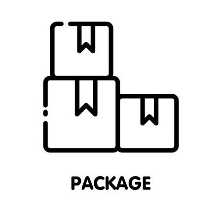 Icon box package  outline style icon design  illustration on white background Ilustração