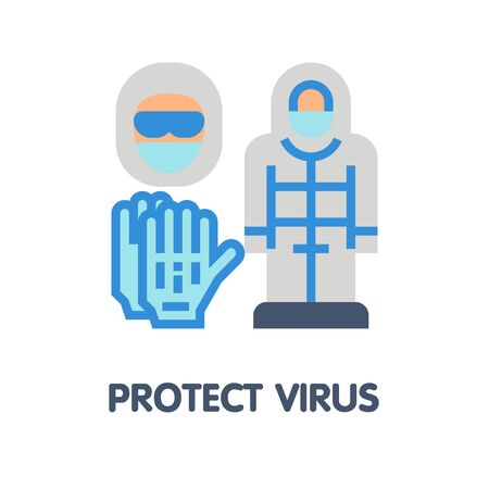 Protect virus flat icon style design illustration on white background Vectores