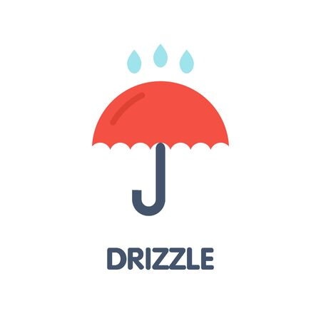 Drizzle umbrella flat icon design style illustration on white background eps.10