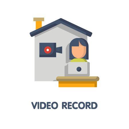 Video record  flat icon style design illustration on white background eps.10 Illusztráció