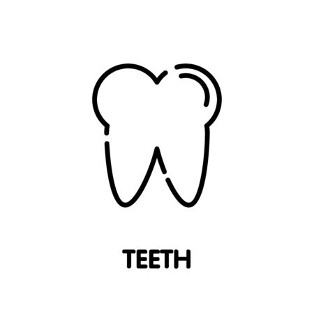 Teeth tooth outline icon design style illustration on white background