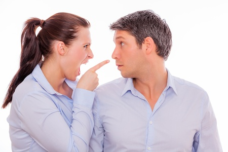 Male and female discussing business and arguing