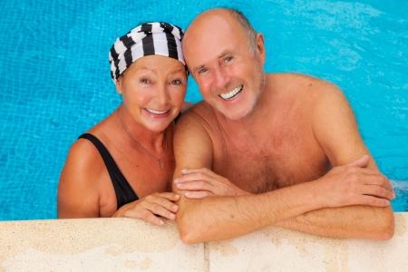 smiling happy seniors relaxing travel team Stock Photo