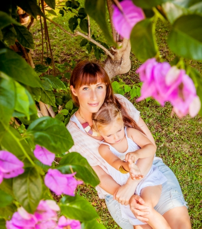 romantic scene of mother with child photo