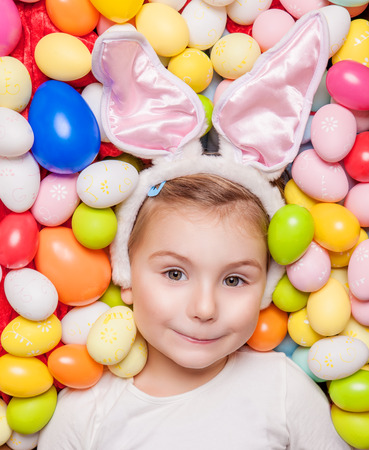 cute little young bunny children  photo