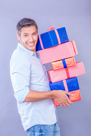 male buying some presents for family  photo