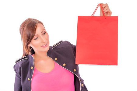 trendsetter modern shopping isolated female photo
