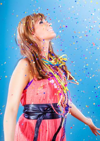 party celebrating winner female with confetti 版權商用圖片 - 27287966