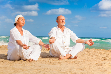 relaxing active senior lifestyle yoga