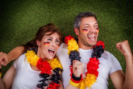 happy fantatic soccer football couple photo