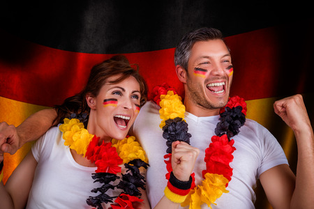 german flag soccer couple fans photo