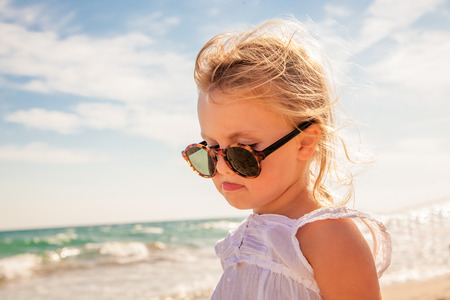 upset girl of ending vacations photo