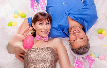 middle easter: happy smiling easter bunny couple