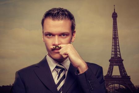 smiling man in paris concept photo
