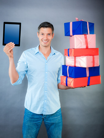 male holding up new gift free copyspace photo