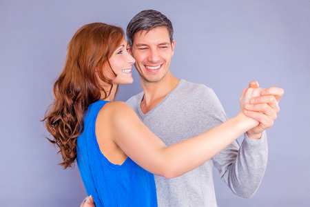 male dancer: happy valentine dancing couple isolated