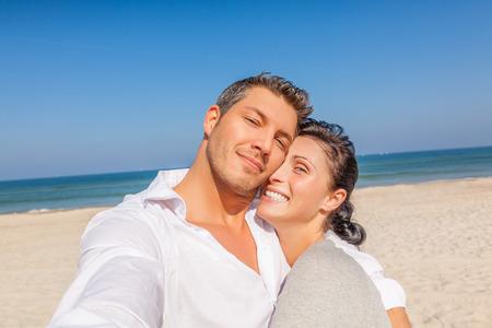 self portrait couple on beach