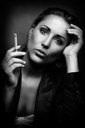 black & white beauty portrait of female photo