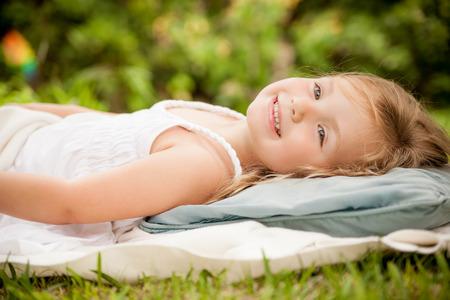 dreaming little cute girl photo