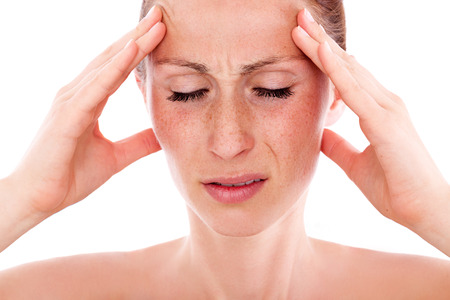 통증이 머리 통증 여성 스톡 콘텐츠