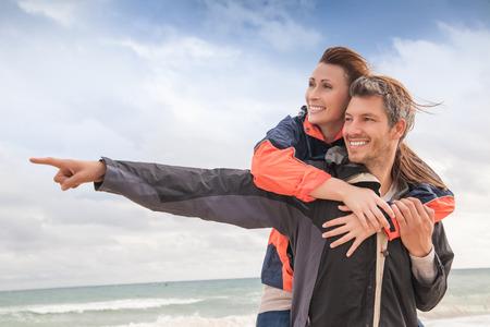 explorer adventure couple outdoors in rough nature