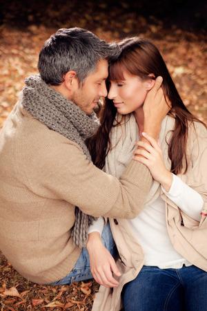 romantic couple lovers in woods Banco de Imagens