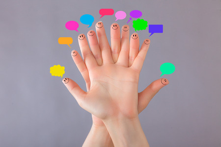 tweets: Social finger tweets and feeds Stock Photo